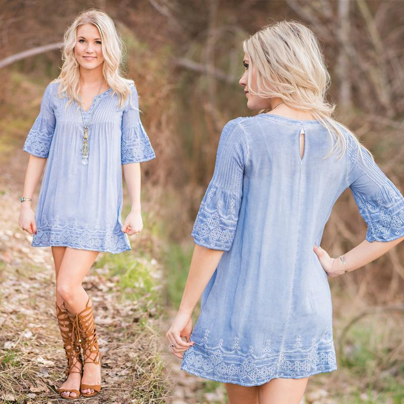 Swanky Electric Blue Short Dress For Sunny Day