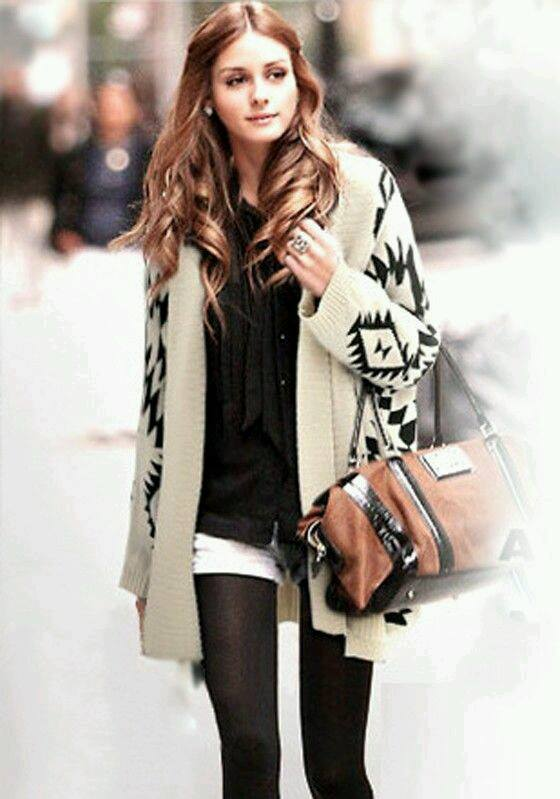 Swanky Oversized Cardigan Paired With Black Button Down Shirt, White Shorts, Stockings And Handbag