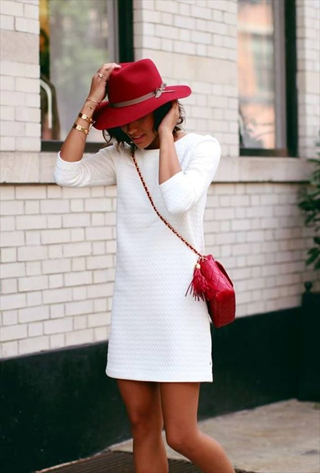 Swanky White Midi With Red Crossbody Bag And Hat