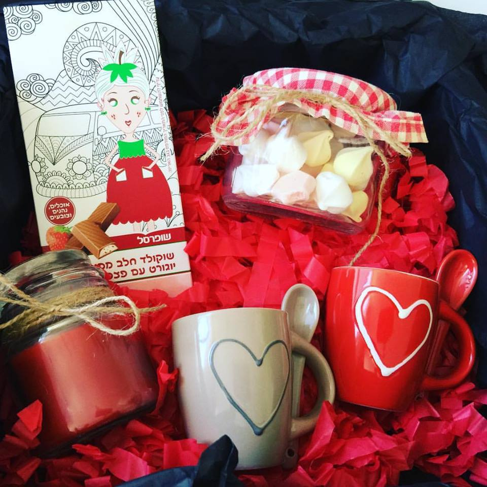 Sweet Chocolates, Coffee Cups, Candles And Wooden Box Perfect For Valentines Day