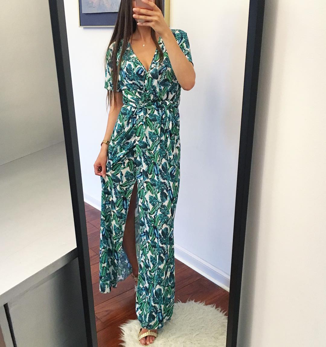 Tree Print Maxi Dress With Front Slit