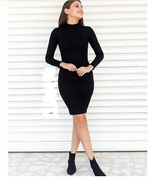 Trendy Black Turtle Neck Bodycone Dress For Fall And Winter