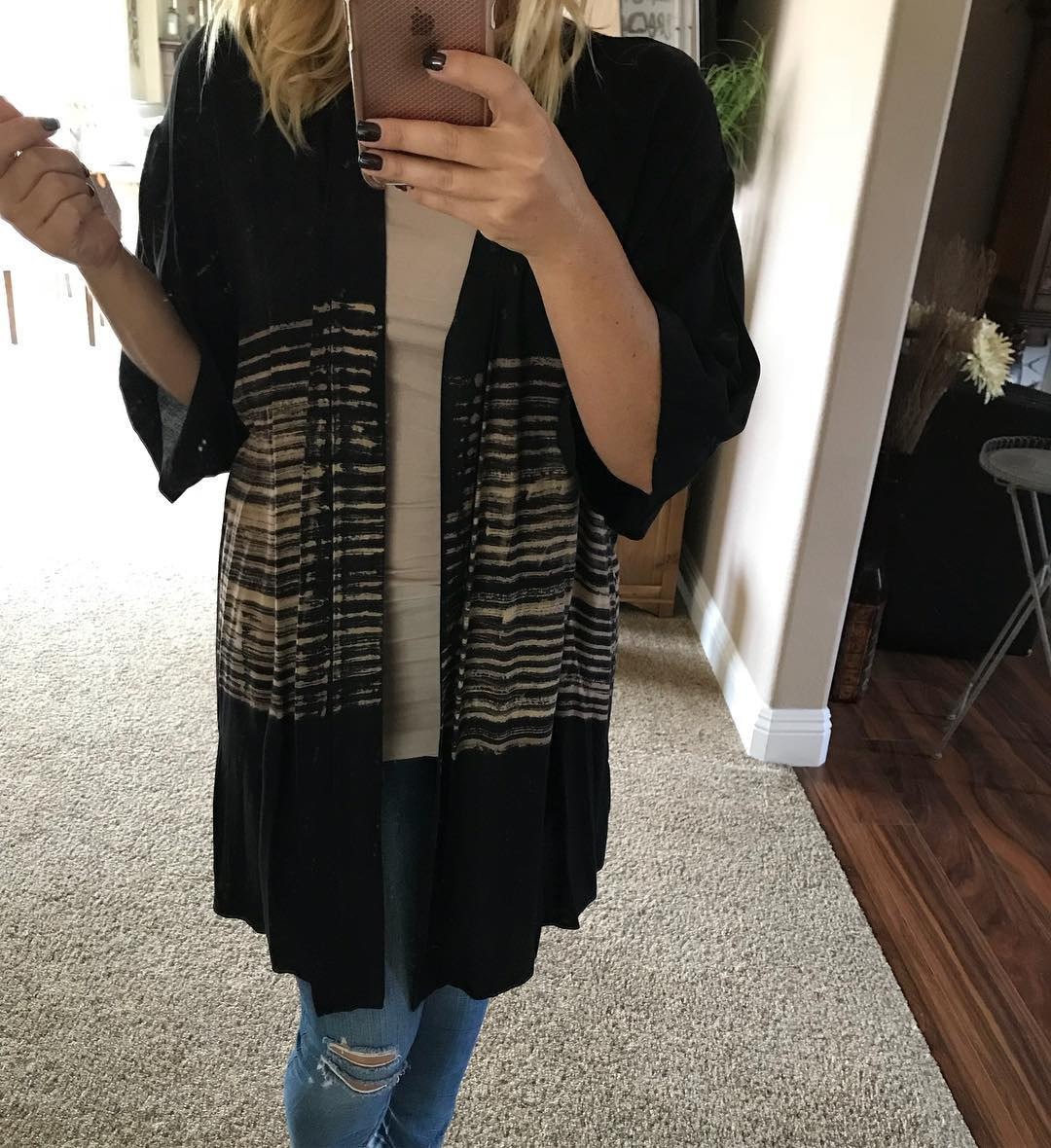 Trendy Half Sleeve Stripes Cardigan