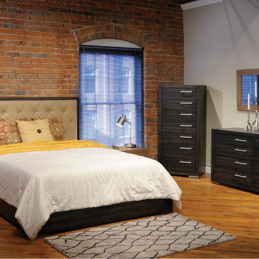 Tufted Headboard With Brick Wall Perfect Look For Contemporary Bedroom