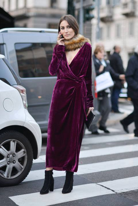 Ultimate Velvet Wrap Maxi Dress With Ankle Shoes Perfect For Fall