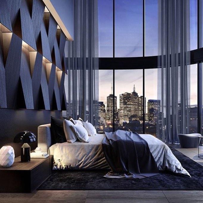 Unique Bedroom Interior Featuring Big Window And Headboard