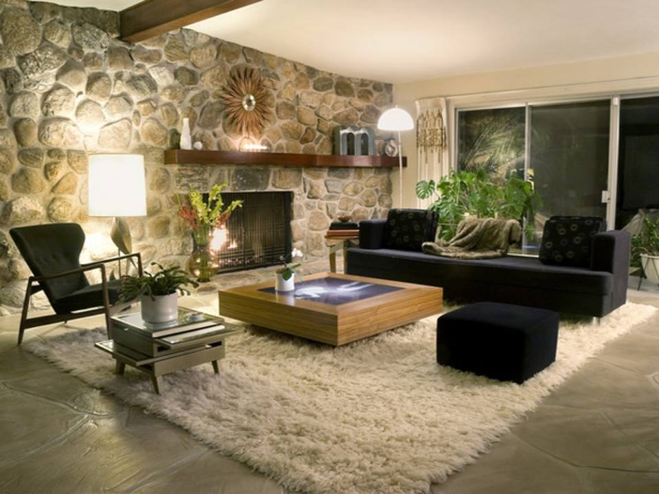 Unique Stone Wall In Living Room