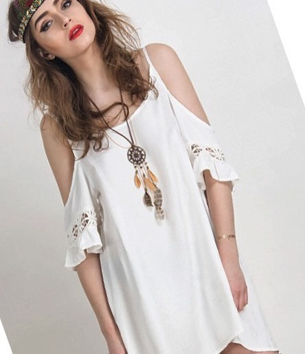 Vibrant Cold Shoulder Dress With Dreamcatcher Necklace