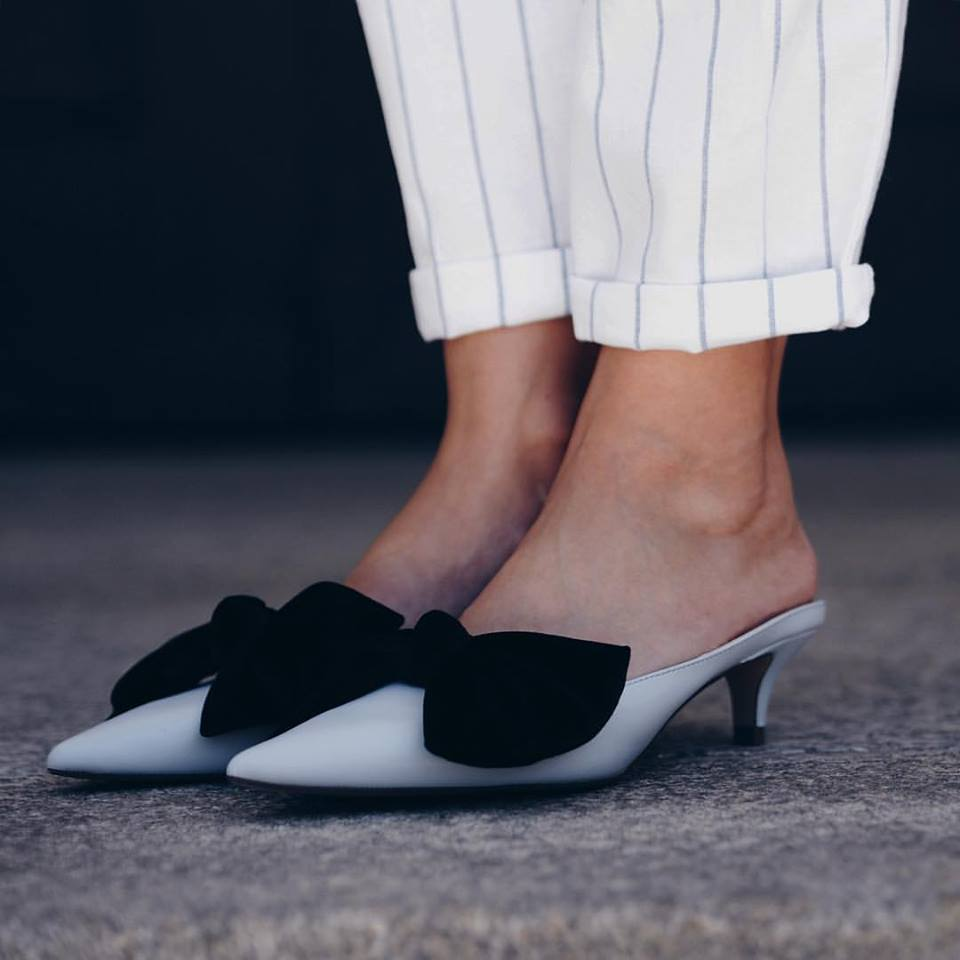 White Open Back Kitten Heels With Black Velvet Bow