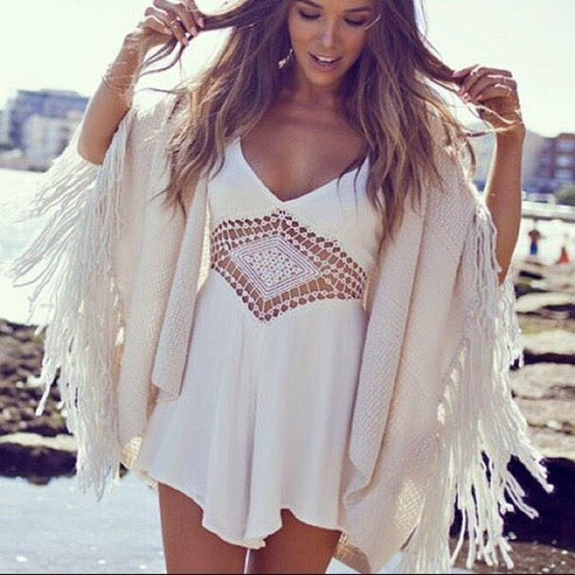 White Short Heels With Shawl