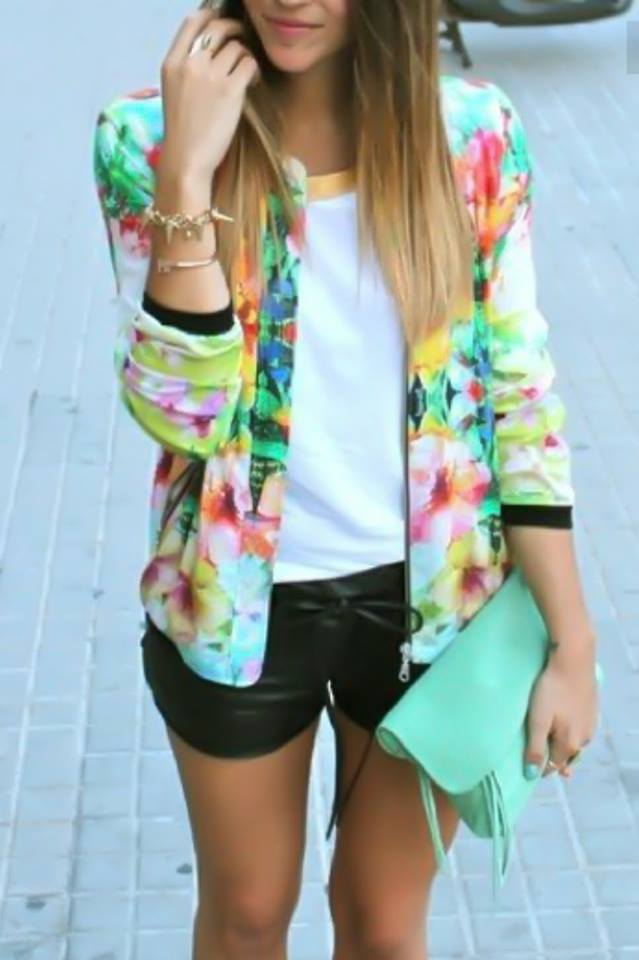 White Top, Leather Shorts With Water Color Print Shrug