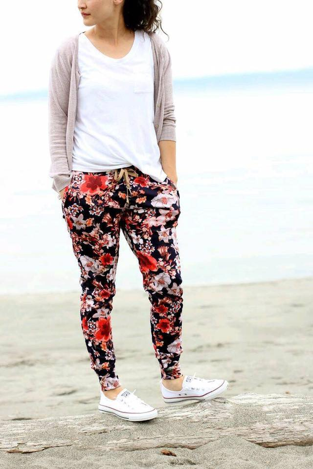 White Top With Floral Legging And Cardigan