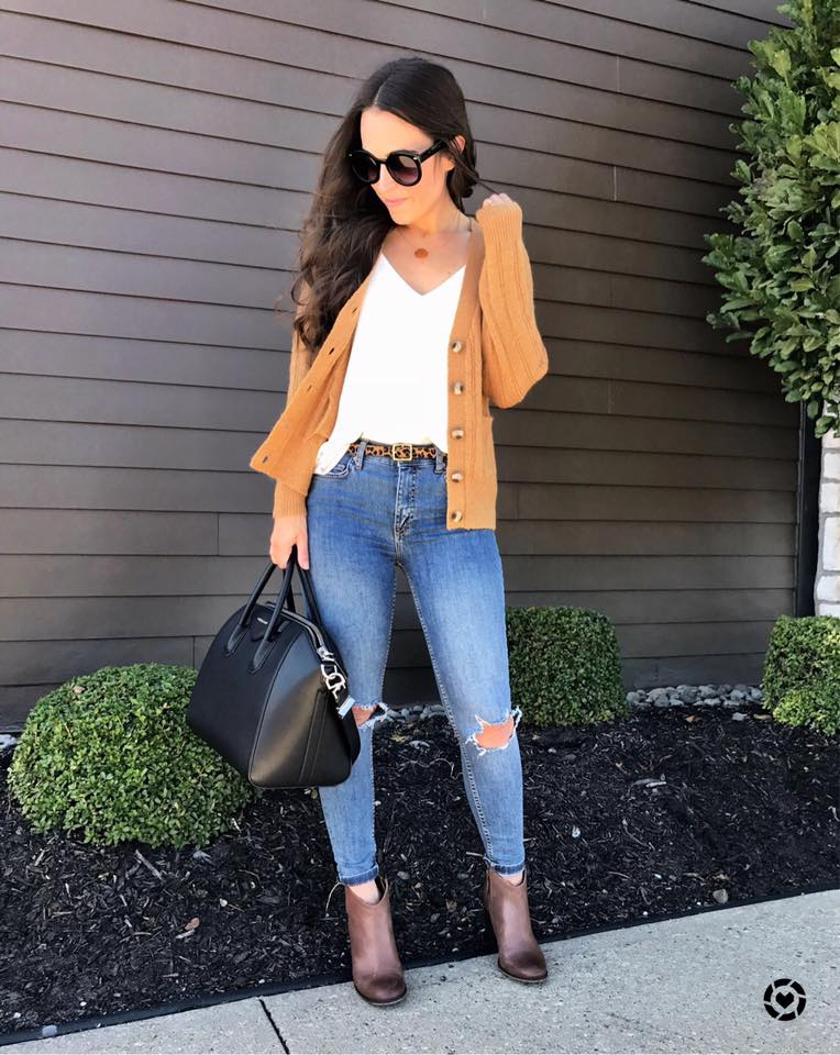 White V-Neck Top With Distressed Jeans, Dull Yellow Short Cardigan And Leopard Belt