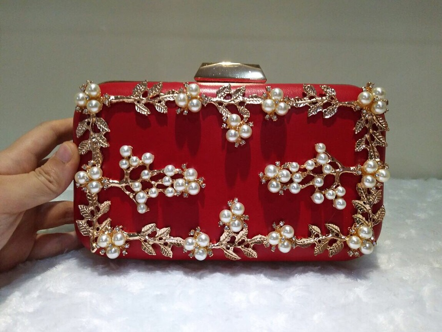 Womens Red Pearl Party Clutch