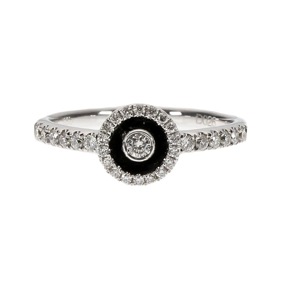 Wonderful Black Enamel Diamond White Gold Circle Ring