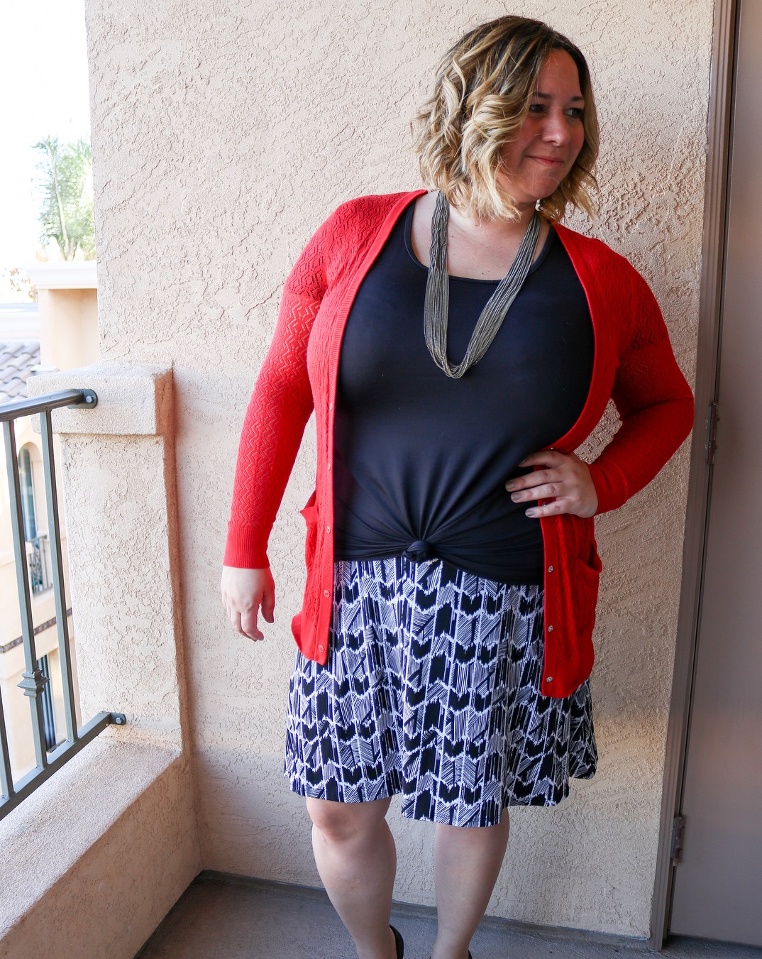 Wonderful Black Top With Artistic Print Skirt And Red Cardigan For Plus Size