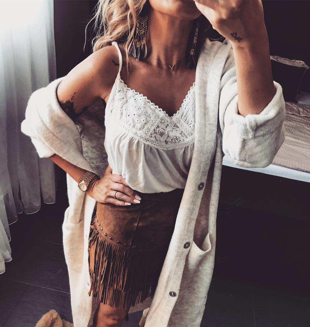 Wonderful White Spaghetti Top With Fringes Skirt And Long Cardigan