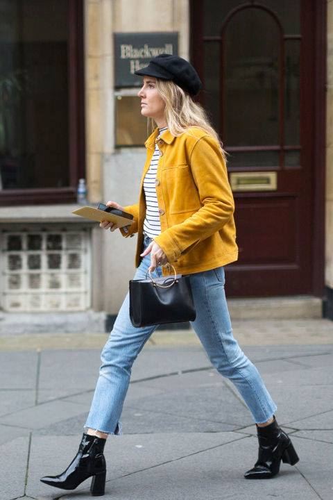 Yellow Jacket Looks Fabulous With Stripes Top, Jeans, High Heels And Handbag