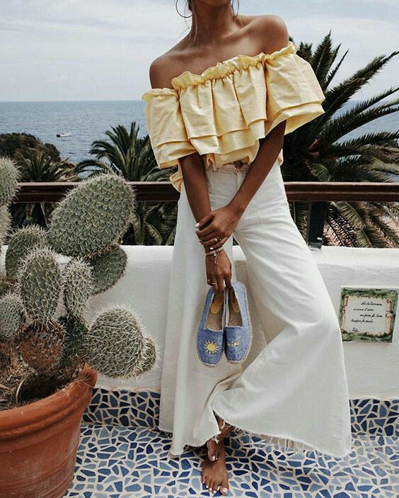 Yellow Off Shoulder Top With White Palazzo Pant