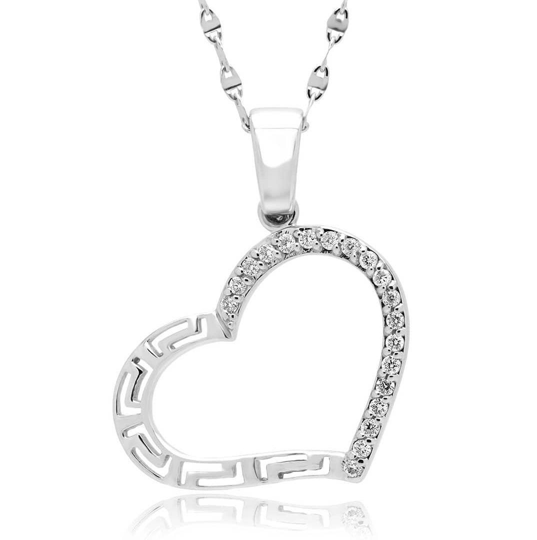 Alluring Heart Shape Diamond White Gold Pendant