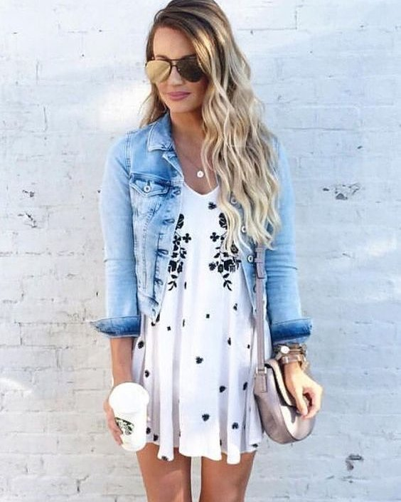 Amazing Casual Floral Dress With Denim Jacket