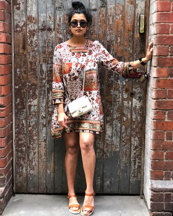 Artistic Boho Style Short Dress With High Heels And Sling Bag Complete The Summer Look
