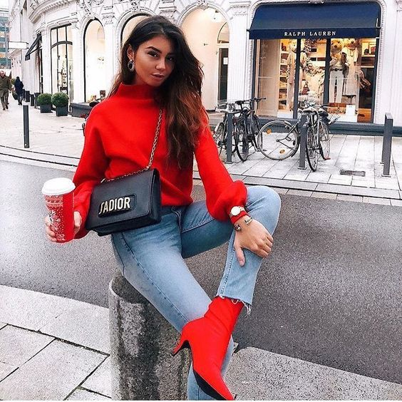 Awesome Red Sweater With Red Sock Fit Boots Stay You Tuned