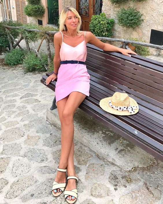 Baby Pink satin Short Dress With Thin Straps And Flats