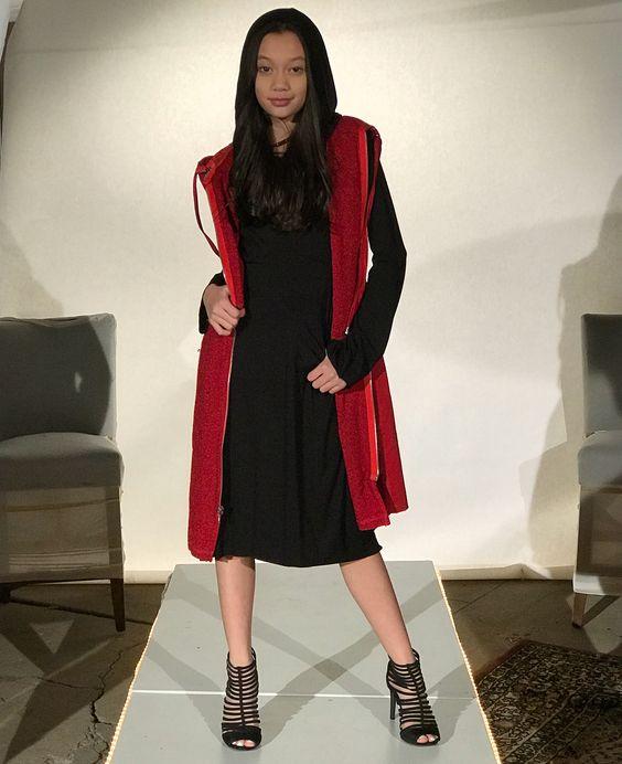 Beautiful Black Midi With Red Open Cardigan