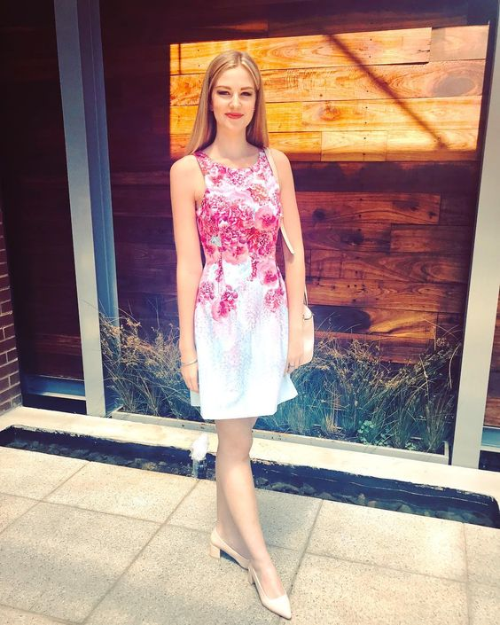 Beautiful Floral Print White & Pink Summer Party Dress