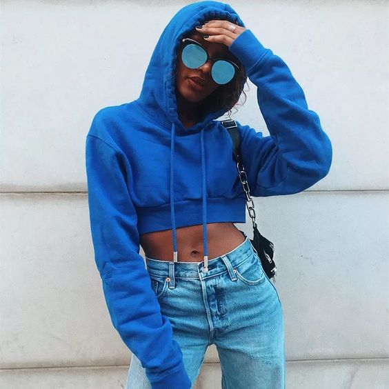 Blue Cropped Hoodie With Sunglasses