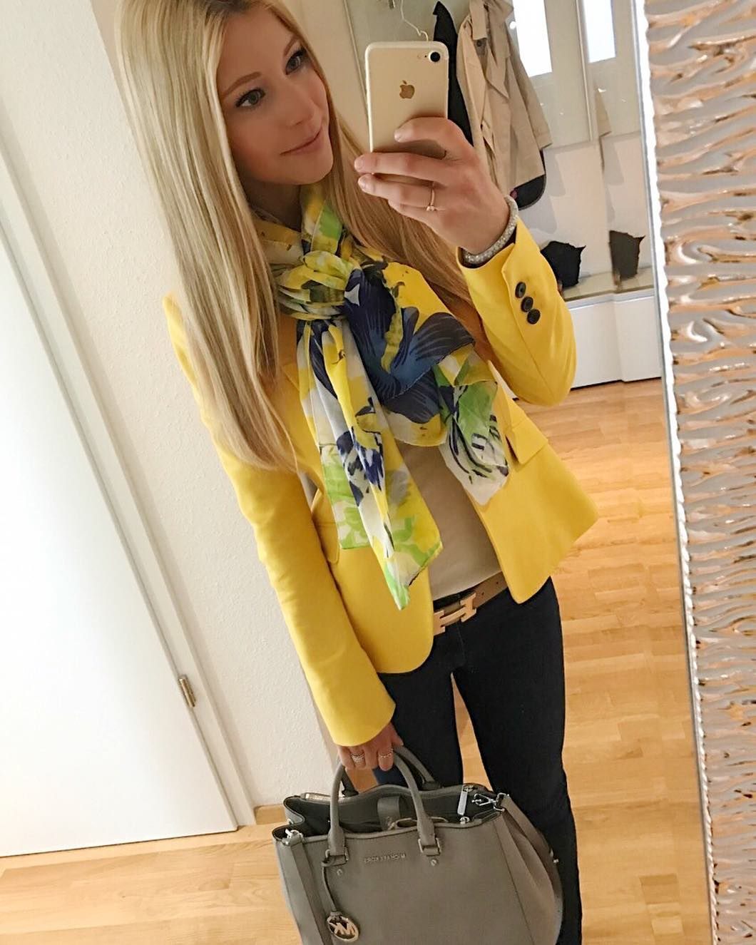 Bright Yellow Blazer With Floral Scarf