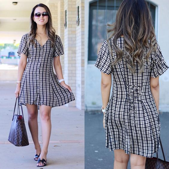 Check Pattern Casual Summer Dress