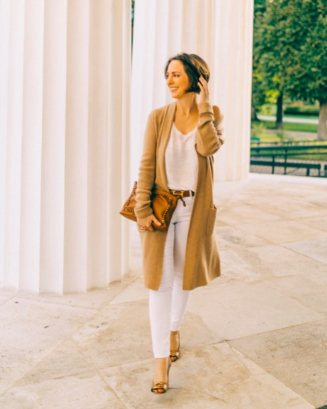 Classic White Outfit With Open Cardigan