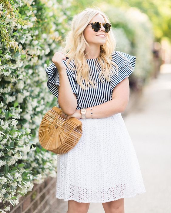 Cool Stripes Top With Fancy White Short Skirt
