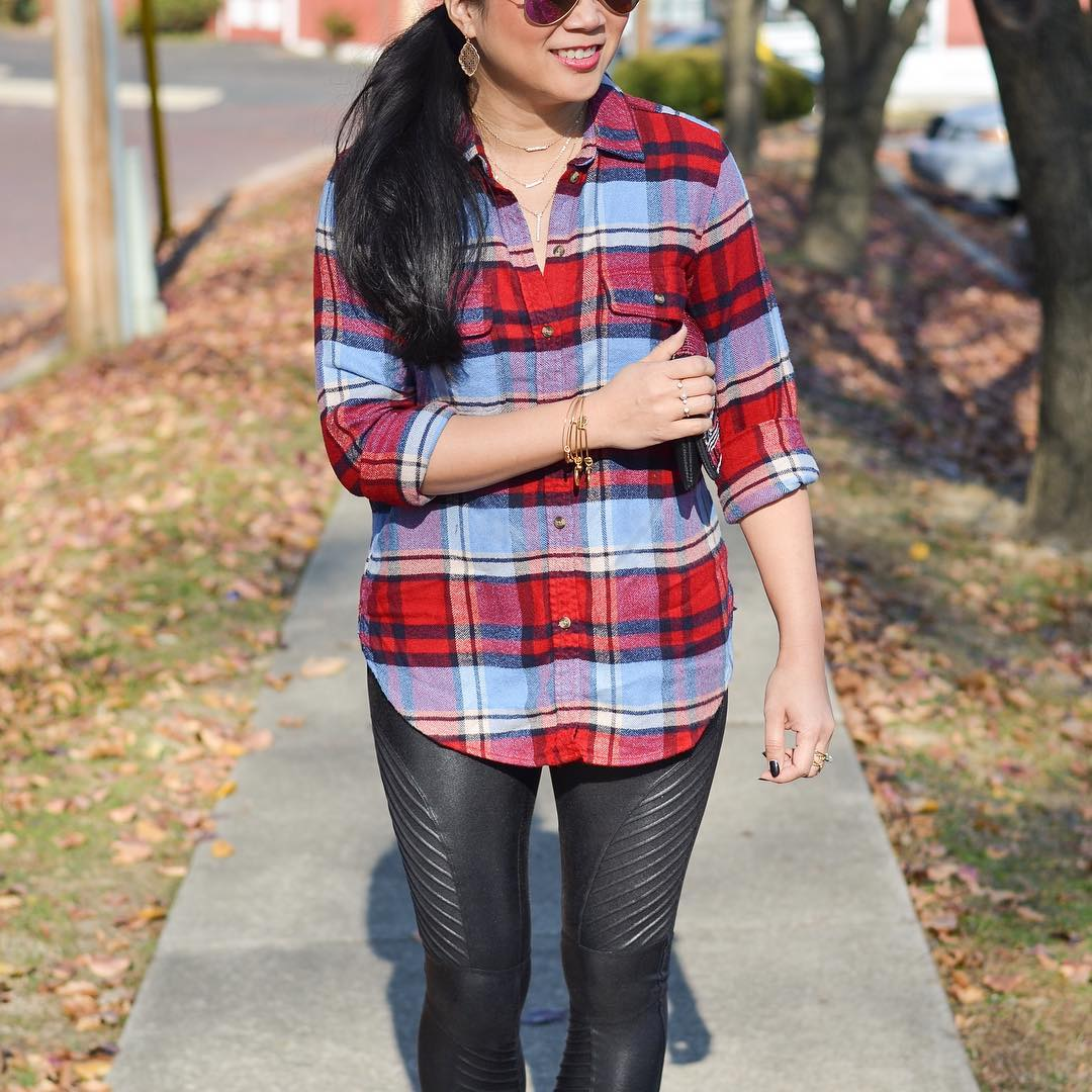 Cute Plaid Shirt With Leather Legging
