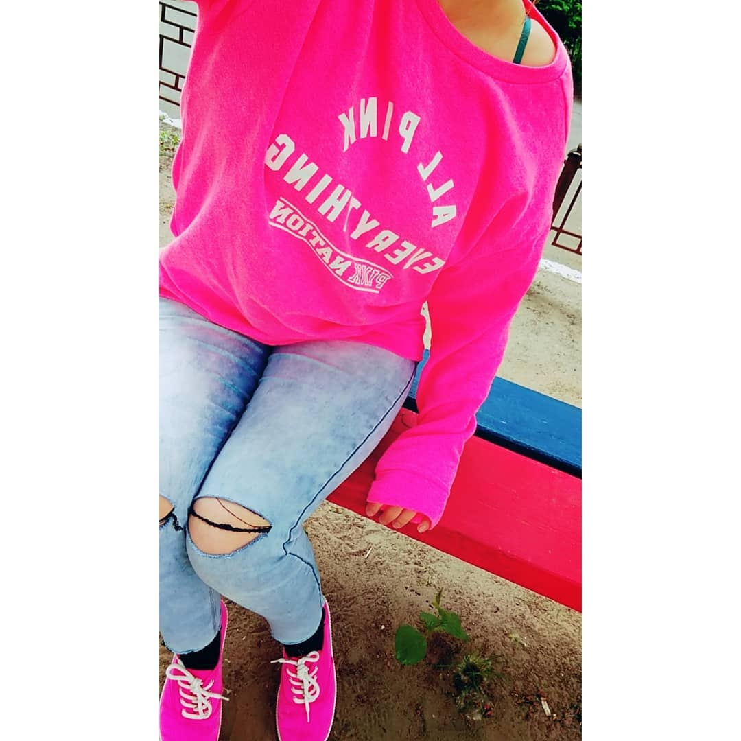 Dashing Dark Pink Pullover With Distressed Jeans