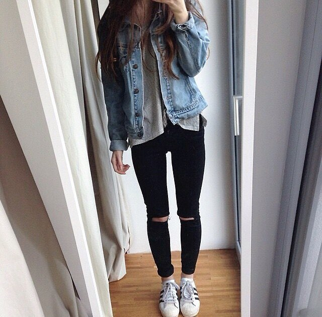 Dashing Striped Top, Distressed Jeans With Denim Jacket
