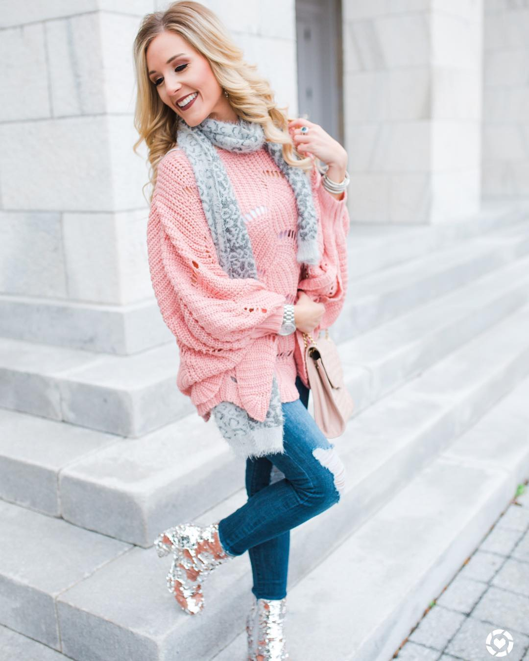 Fabulous Pink Knit Sweater For Spring Lover