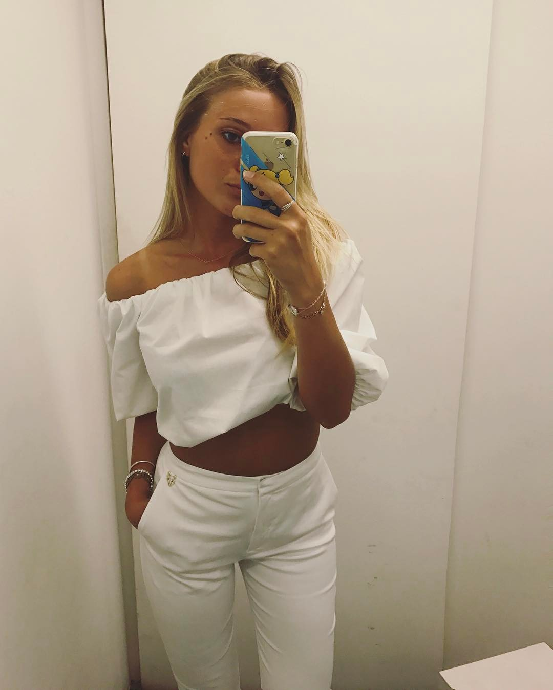 Fabulous White Off Shoulder Crop Top With Ripped Jeans
