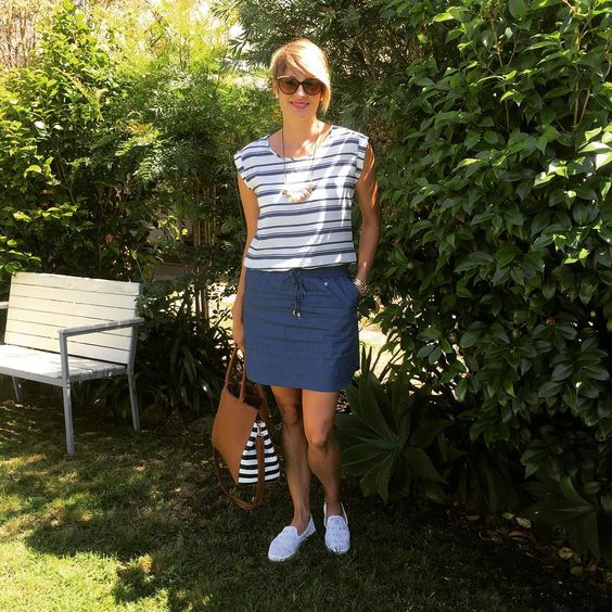 Fantastic Cotton Stripes Top With Blue Skirt