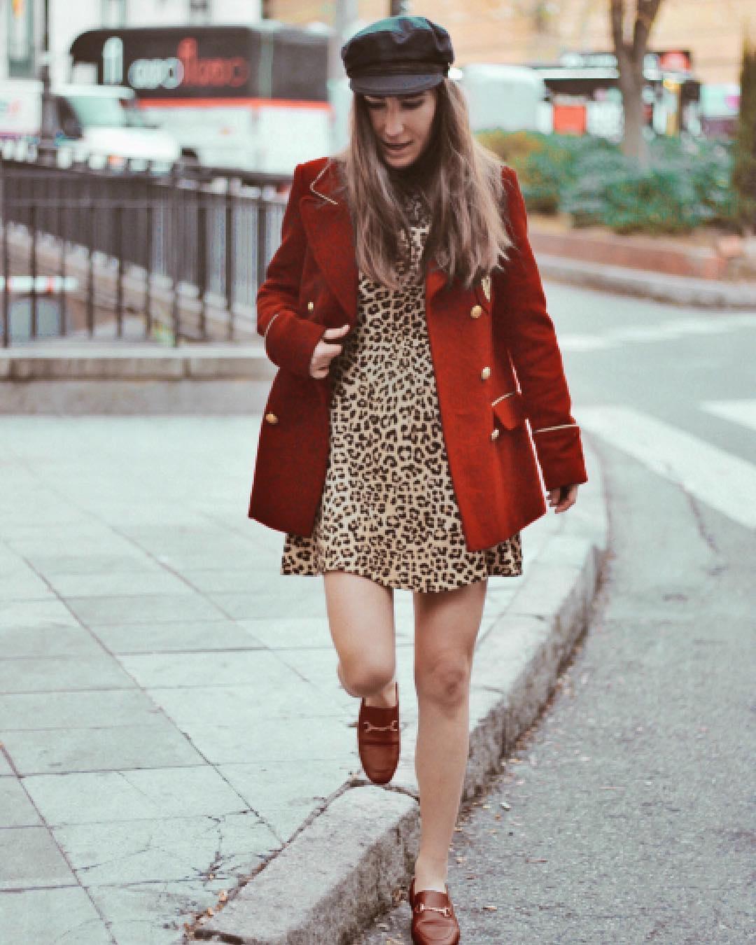 Fantastic Leopard Midi With Red Coat & Flats
