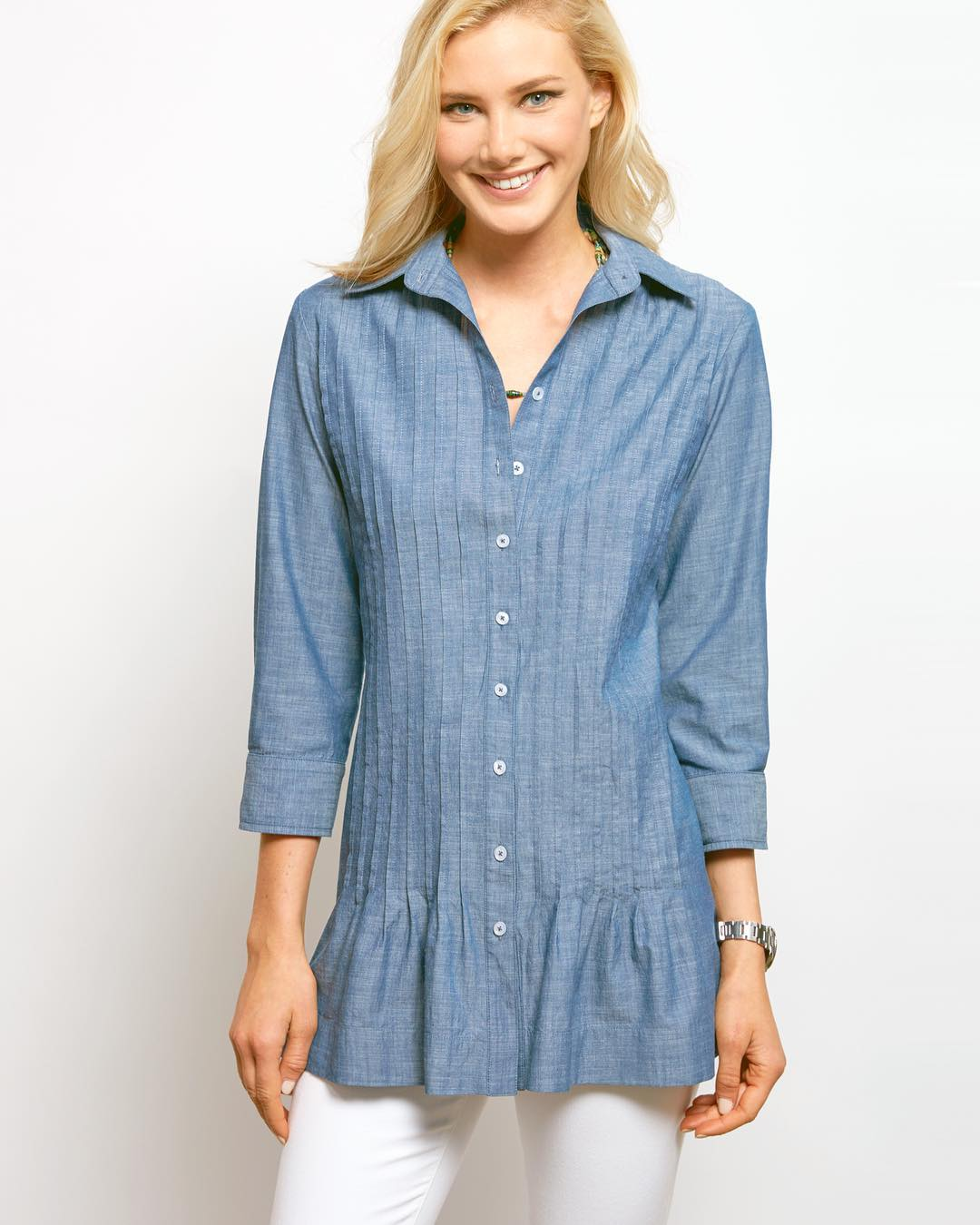 Feminine Button Down Tonic With White Jeans