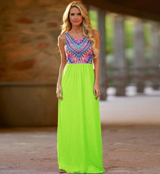 Flashy Color Pattern Long Dress