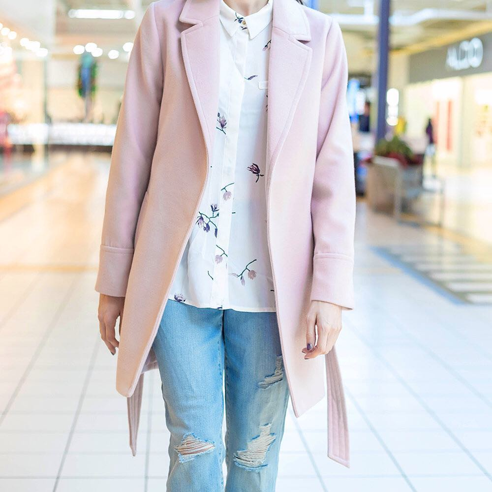 Floral Button Down Shirt, Distressed Jeans With Pretty Pink Coat