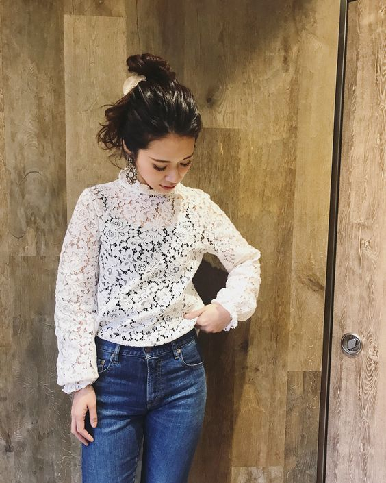Floral Lace High Neck Top With High Waist Jeans