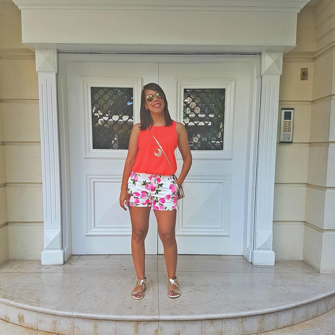 Floral Shorts + Top + Sandals + Crossbody Bag