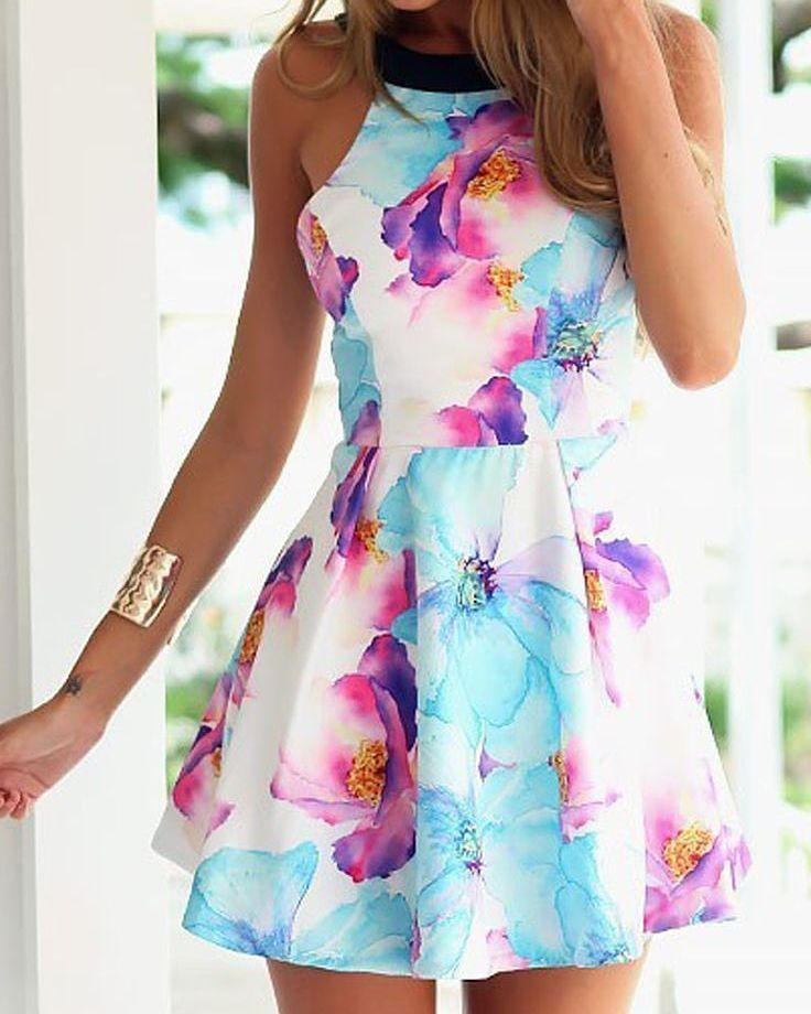 Fresh And COlorful Short Dress