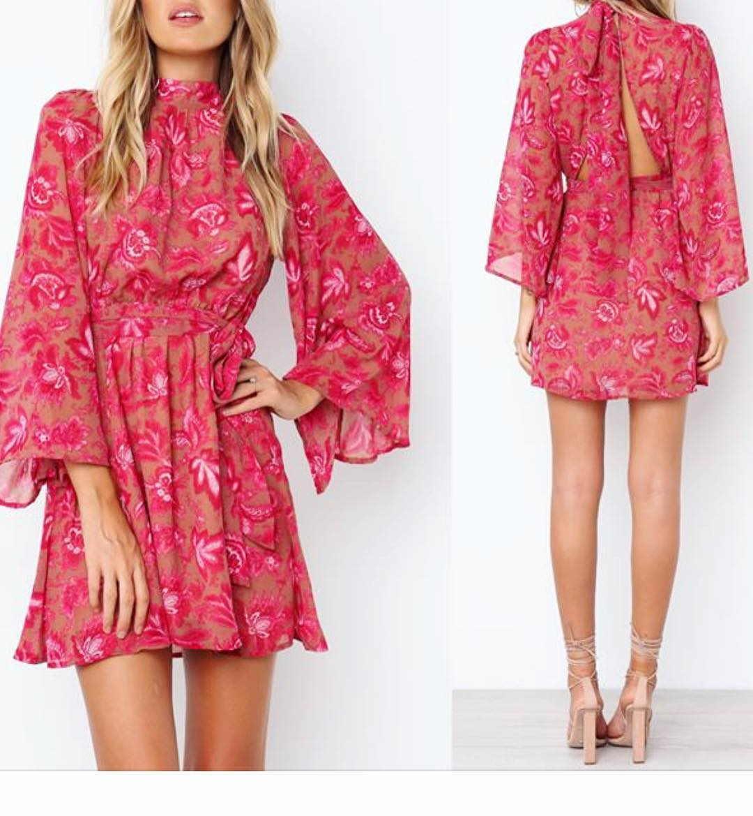 Full Sleeves Designer Back Knot Short Dress To Stay Fashionable This Summer