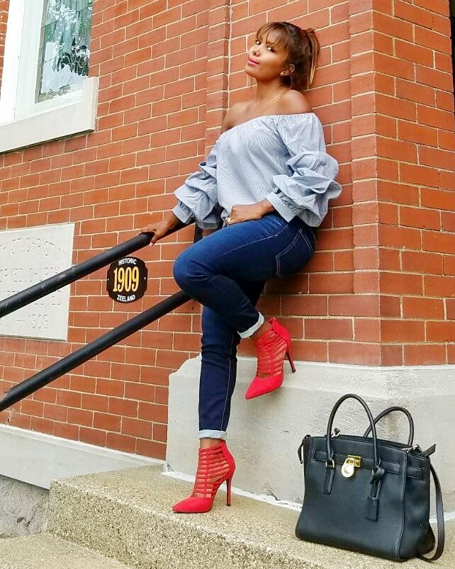 Gorgeous Off Shoulder Top With Jeans And Incredible High Heel Shoes
